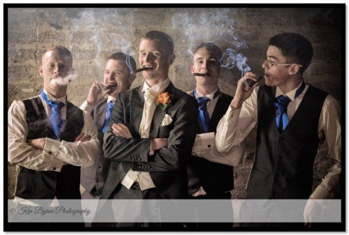 Groomsmen and cigars. Fun and classy photography for the guys on the wedding day. Clayton Hotel Galway, Monivea Road, Ballybrit, Galway, H91 D526
