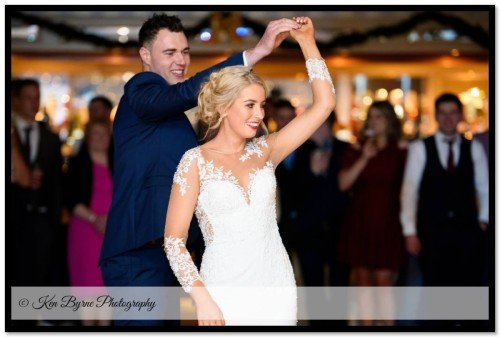 Documentary wedding photography of the bride and grooms first dance Bloomfield House Hotel, Belvedere, Mullingar, Co. Westmeath