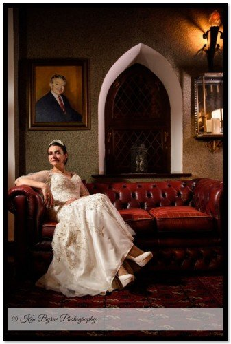 Elegant Wedding Photography of the Bride alone on her wedding day  Cabra Castle Hotel, Carrickmacross Rd, Cormey, Kingscourt, Co. Cavan, A82 EC64