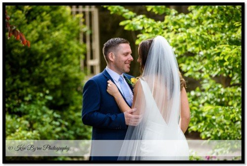 Intimate wedding photography of the bride and groom alone on the wedding day. Ballymagarvey Village, Ballymagarvey, Balrath, Co. Meath