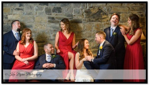 Fun Wedding photography with the bridal party on the wedding day. Ballymagarvey Village, Ballymagarvey, Balrath, Co. Meath