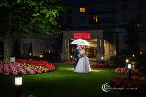 Knightsbrook Hotel bride and groom at night