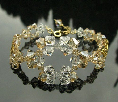LACEY Gold-plated Vintage and Golden Shadow & Clear Swarovski Crystal Bracelet