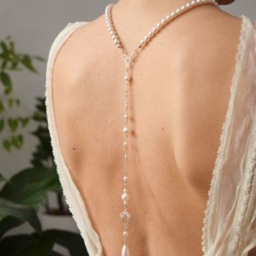 LACEY White Swarovski Pearl Backdrop Necklace