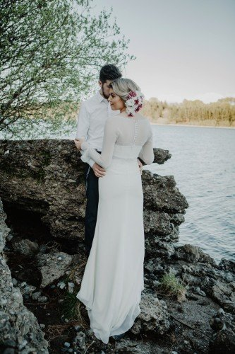 Photos on the private lakeshore beach of The Avon Lakeshore Wedding Venue