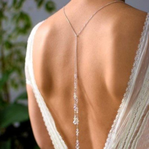 LARA Lariat Style Necklace with Swarovski Aurore Boreale Crystal