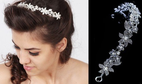 LEAF Crystal Bridal Hairband with Decorative Elements