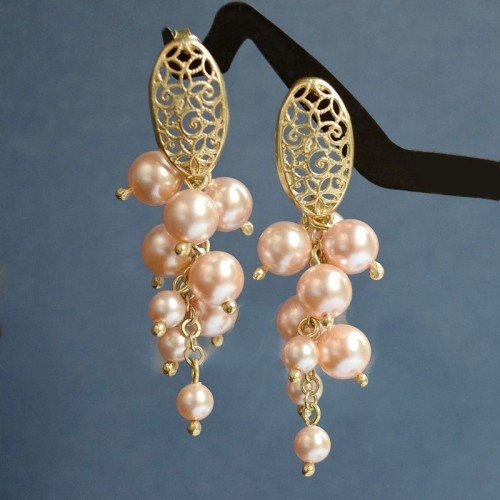 LILA Peach Gold-plated Swarovski Pearl Earrings