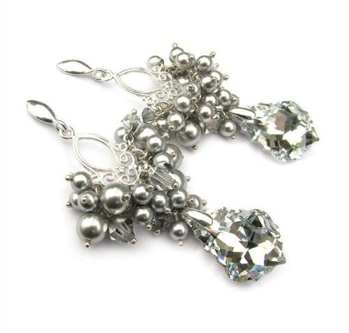 LOTTIE Vintage Style Light Grey Pearls & Comet Long 6.2cm Crystal Earrings