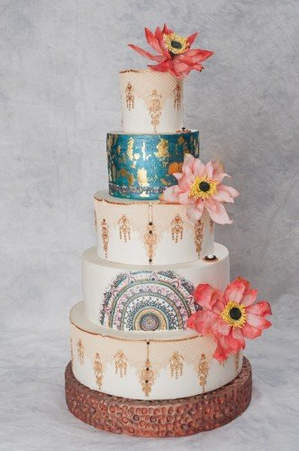 Lotus Heaven with edible Lace, Metallics, Gold leaf, and Sugar flowers