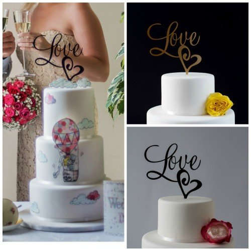 Love with Heart wedding cake topper