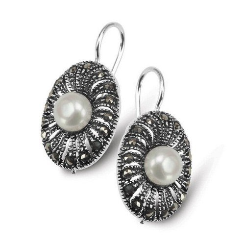 LUNA Natural White Pearl and Marcasite Earrings