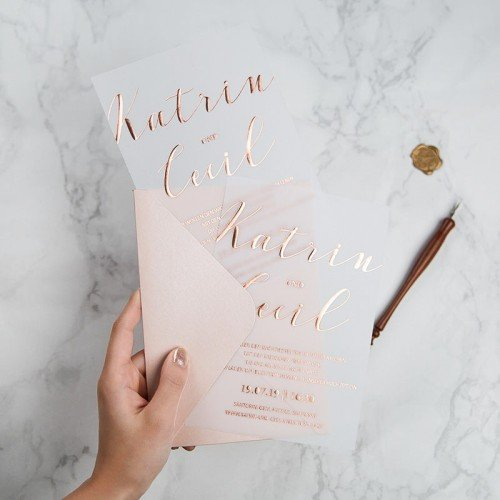 Luxury wedding invitation vellum transparent foil rose gold