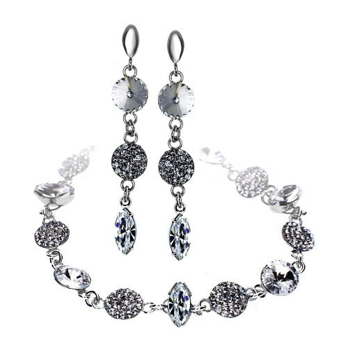 MAYA Swarovski Tear drop Crystal Bracelet & Earring Personalized Set