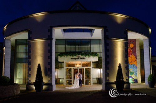 Newpark Hotel bride and groom at night