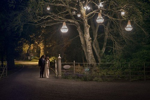 nightime photo at ballymagarvey village, wedding photographers at ballymagarvey village