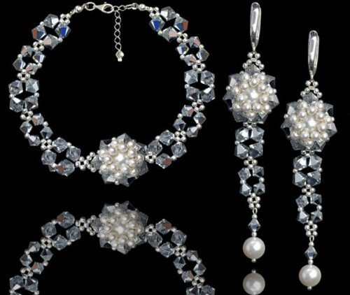 NIHAN Swarovski White Pearl Crystal Bracelet and Earring Wedding Set