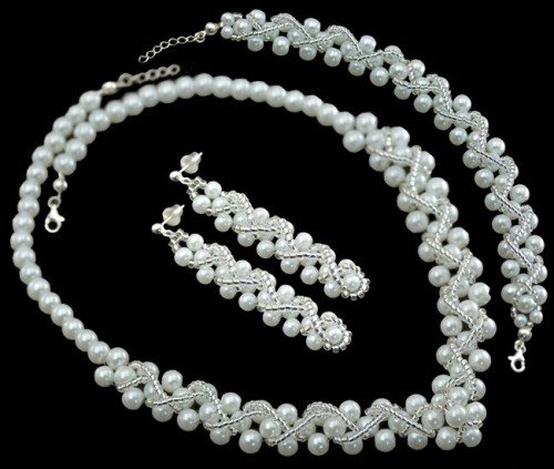 NOELIA Miyuki Glass Pearl and Crystal Bracelet Necklace and Earring Wedding Set