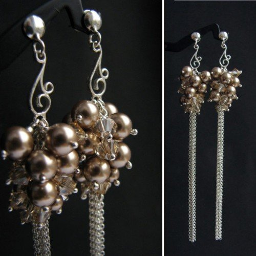 ORLA Boho Style Cappucino Pearls & Golden Shadow Crystal Long 11cm Earrings