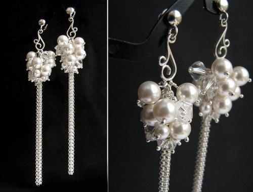 ORLA Boho Style Swarovski White Pearl Crystal Long Earrings
