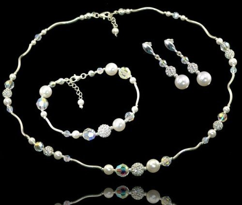 PALOMA Swarovski Crystal Pearl Bracelet Necklace and Earring Wedding Set