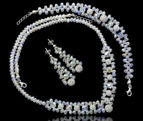 PAOLA Shamballa Swarovski Pearl Crystal Necklace Bracelet and Earring Wedding Se