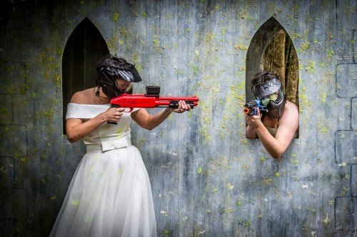 Brides paintballing, Tara Donoghue Photography