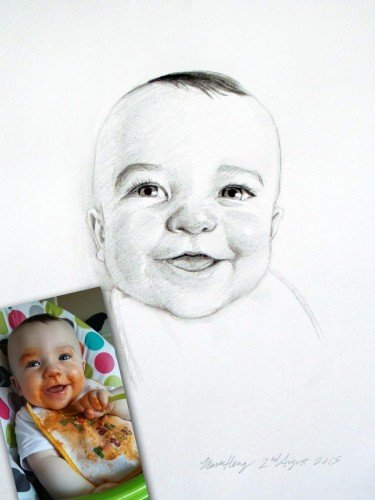 Pencil or Charcoal portraits from photos- Yes, I can remove the spaghetti sauce!