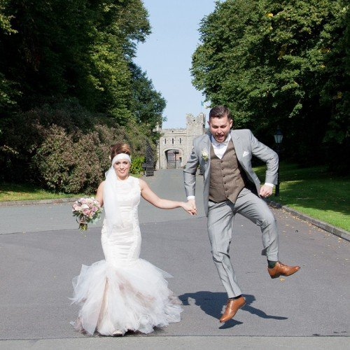 Castle Bellingham, Bride and groom, - Janet Meehan Photography