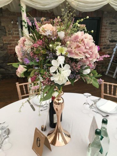 Pics of Kelly and Christophers venue styling at Trudder Lodge