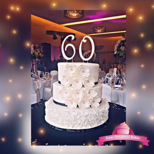 3 tier Wedding Anniversary Cake with Ruffles and handmade flowers - Dees Delightful Bakes