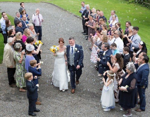Real-Life Wedding Couple in Gardens Leixlip Manor