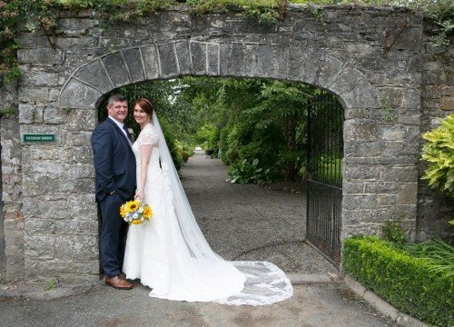 Real-Life Wedding Couple Victorian Gardens Leixlip Manor