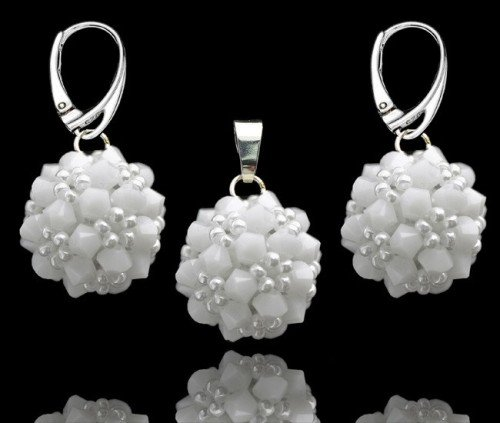 REYNA White Alabaster Swarovski Crystal Pendant and Earring Wedding Set