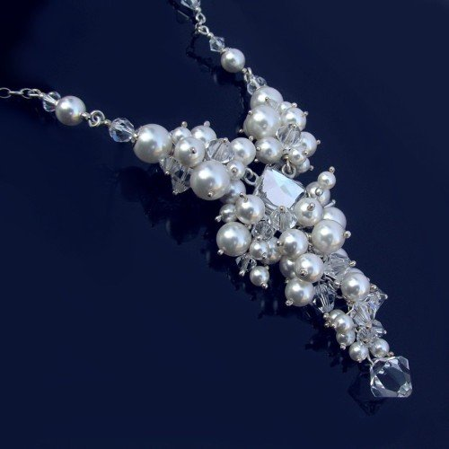 RITTA White Pearl and Crystal Clear Swarovski Necklace