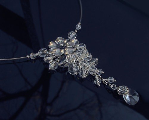 ROSELLA FLOW Crystal Swarovski Oxidized Silver Necklace