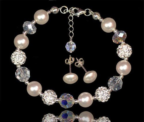 SHAMBALLA Swarovski Pearl Crystal Bracelet and Stud Earring Set