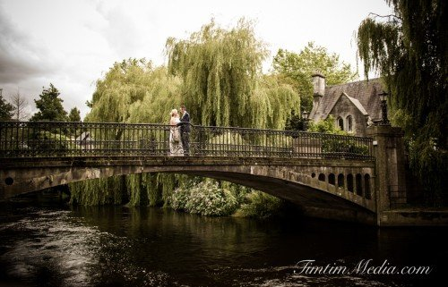 Bride and Groom on a bridge in UCC Cork City Co Cork on their wedding day