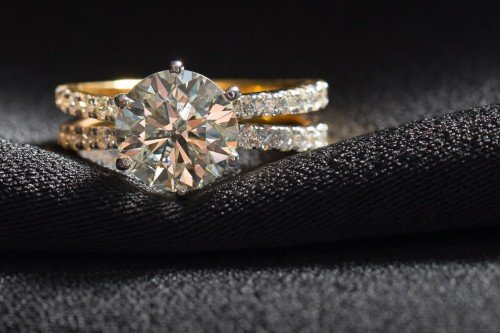 Solitaire Diamond Engagement Ring with Split Band