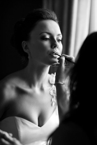 Bride getting Make-up, Bridal lipstick, black and white Bride Make-up, reportage, real wedding at Carton House