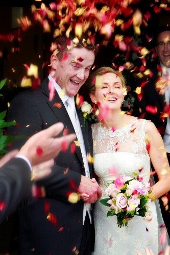 Confetti Shot, Rose Petal Confetti, throwing confetti, bride and groom and confetti, documentary style, natural, reportage, candid,