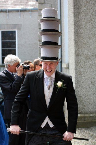 groomsman acting the maggot, groomsman, tophats and sticks, wedding fun, funny moment at wedding, documentary style, natural, reportage, candid, Rathfarnham wedding, church of ireland wedding