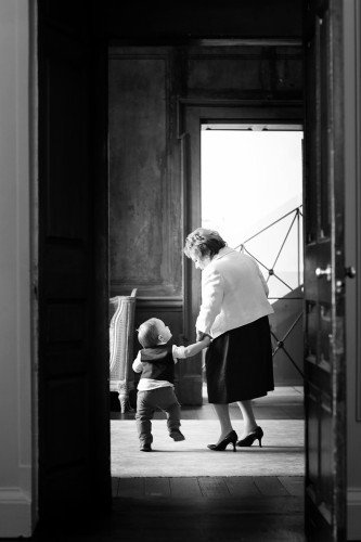 wedding precious moment, grandson with granny,real wedding at Carton House, documentary style, natural, reportage, candid, black and white,