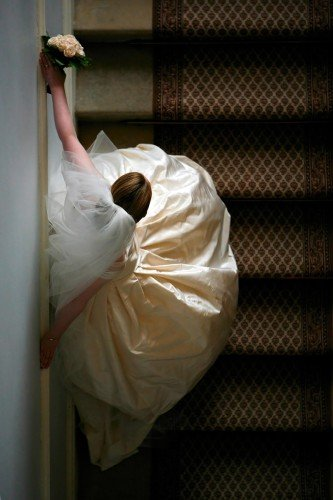 Vera Wang wedding dress, creative portrait of bride, bride on stairs, real wedding at Castle Durrow
