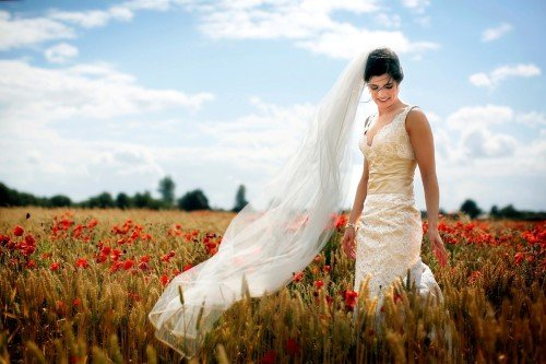 Poppy field, flowers, veil, bride, barberstown castle bride