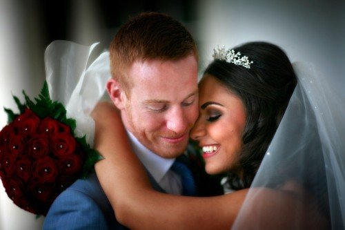 carton house wedding, close up of bride and groom, rose bouquet, tiara