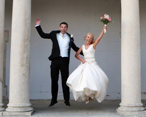 Bride and Groom Jump, real wedding at Carton House, swishy dress