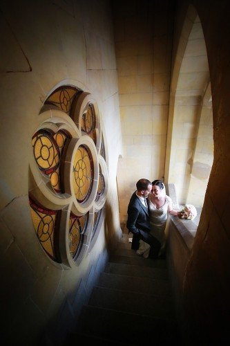 creative wedding portrait at church, romantic, natural, good light, church window,