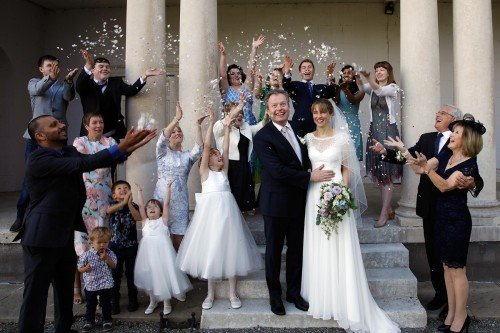 Confetti Shot, Rose Petal Confetti, throwing confetti, bride and groom and confetti, real wedding at Carton House,