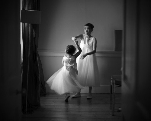 flowergirls twirl, flowergirls dancing, documentary style, natural, reportage, candid, black and white, real wedding at Carton House